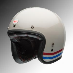 Bell classic custom helmet off white and stripes at Chas Mann Motorcycles