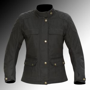 Merlin Heritage Buxton Wax Jacket Black Ladys at Chas Mann Motorcycles