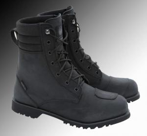 Merlin Heritage Drax black motorcycle boots at Chas Mann Motorcycles