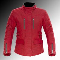 Merlin Heritage Cofton wax armoured motorcycle jacket red ladys at Chas Mann Motorcycles