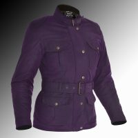 Oxford Bradwell wax armoured motorcycle jacket Ladys violet at Chas Mann Motorcycles 2